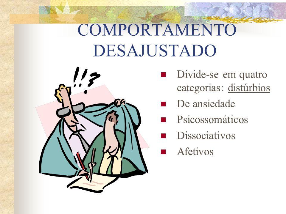 DISTÚRBIO DE ANSIEDADE Perturbações cognitivas e emocionais permanecendo o contato com a realidade.Não se comporta de maneira perigosa, sendo raro os casos de hospitalização.