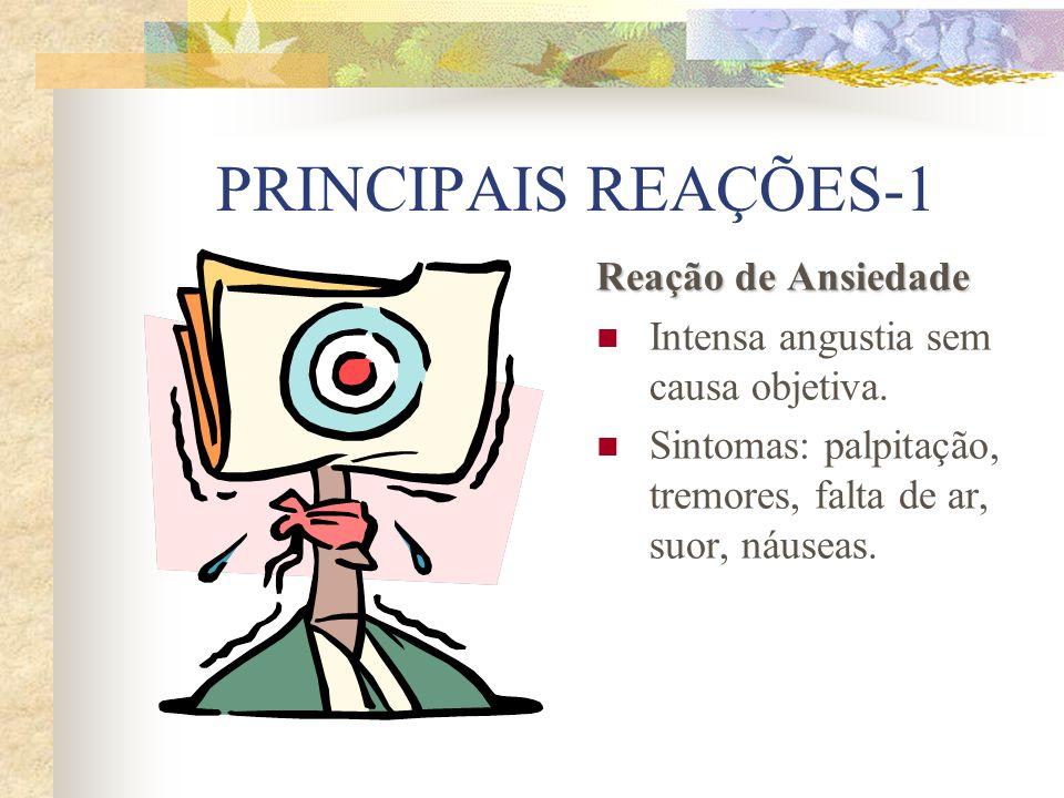 PRINCIPAIS REAÇÕES-2 Reação Fóbica Refere-se ao medo patológico, excessivo e infundado em relação a um objeto ou situação que não é fonte de perigo.