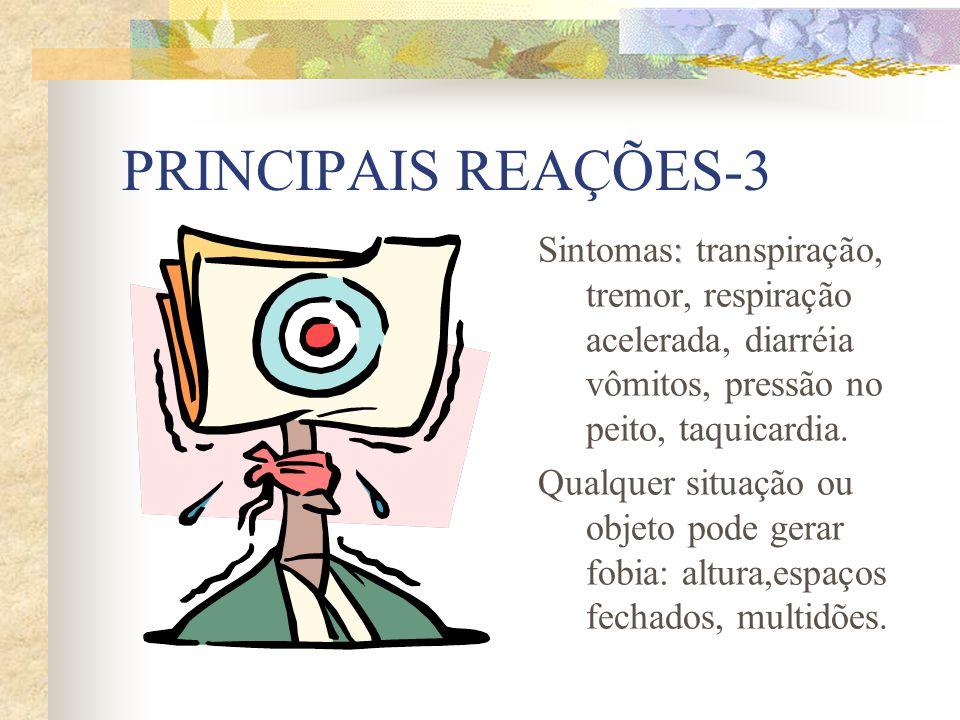 PRINCIPAIS REAÇÕES-3 : Sintomas: transpiração, tremor, respiração acelerada, diarréia vômitos, pressão no peito, taquicardia.