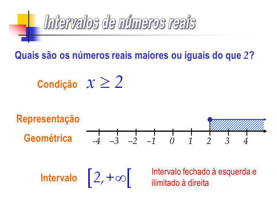 -4 –3 –2 –1 0 1 2 3 4 Condição Representação Geométrica Quais são os números reais maiores ou iguais do que 2 ?