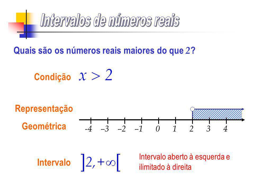 -4 –3 –2 –1 0 1 2 3 4 Condição Representação Geométrica Quais são os números reais maiores do que 2 ?