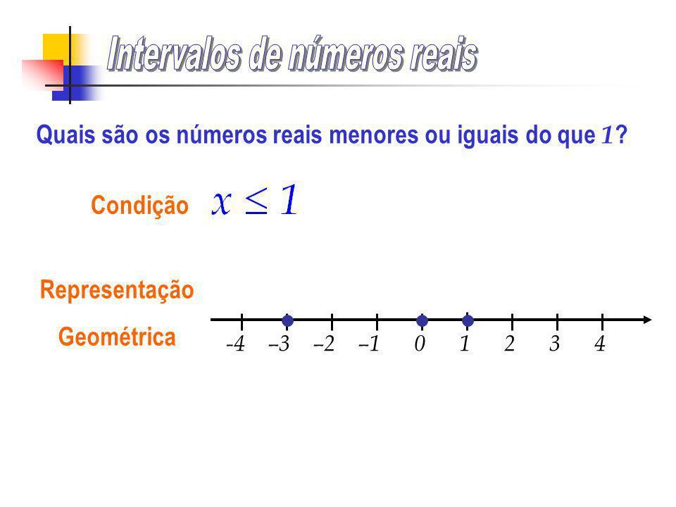 -4 –3 –2 –1 0 1 2 3 4 Condição Representação Geométrica Intervalo Intervalo aberto à esquerda e ilimitado à direita Quais são os números reais maiores