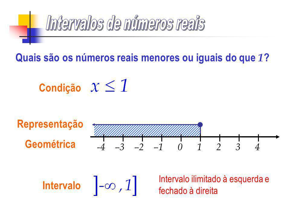 -4 –3 –2 –1 0 1 2 3 4 Condição Representação Geométrica Quais são os números reais menores ou iguais do que 1 ?