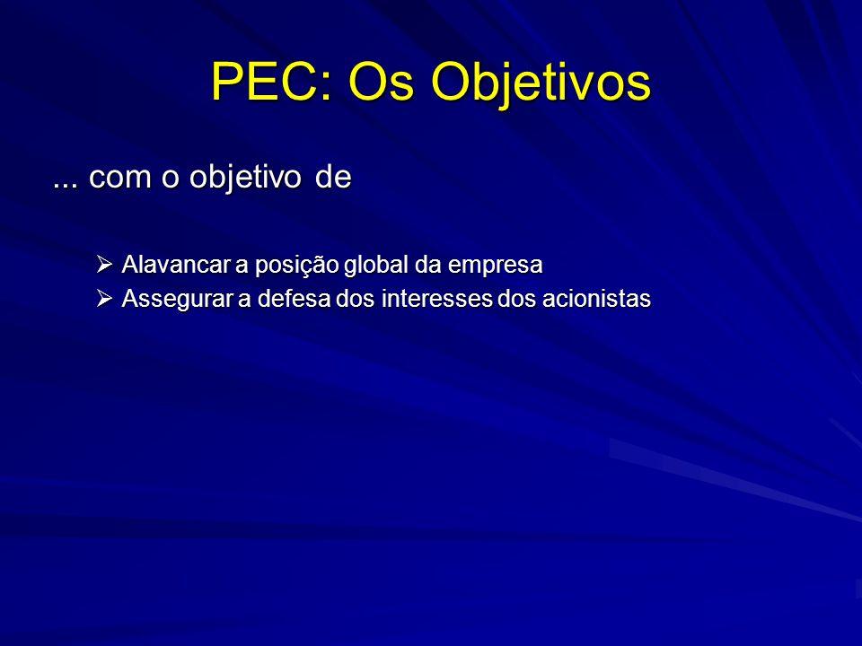 PEC: Os Objetivos... com o objetivo de Alavancar a posição global da empresa Alavancar a posição global da empresa Assegurar a defesa dos interesses d