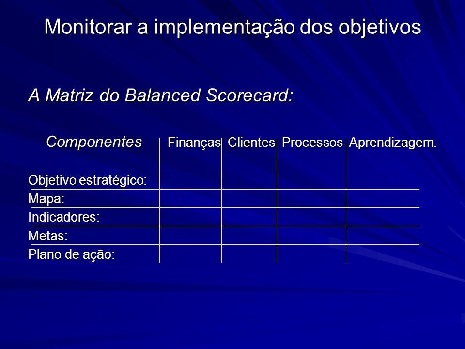 Monitorar a implementação dos objetivos A Matriz do Balanced Scorecard: Componentes Finanças Clientes Processos Aprendizagem. Objetivo estratégico: Ma