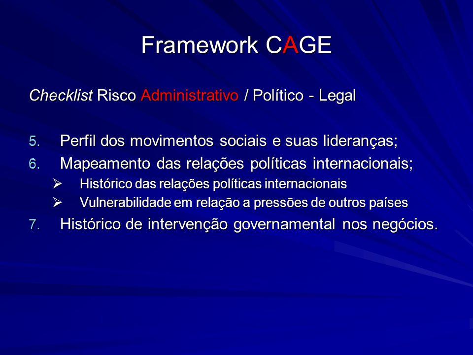 Framework CAGE Checklist Risco Administrativo / Político - Legal 5. Perfil dos movimentos sociais e suas lideranças; 6. Mapeamento das relações políti