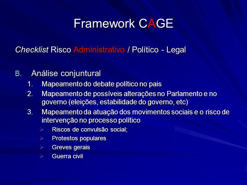 Framework CAGE Checklist Risco Administrativo / Político - Legal B. Análise conjuntural 1.Mapeamento do debate político no pais 2.Mapeamento de possív