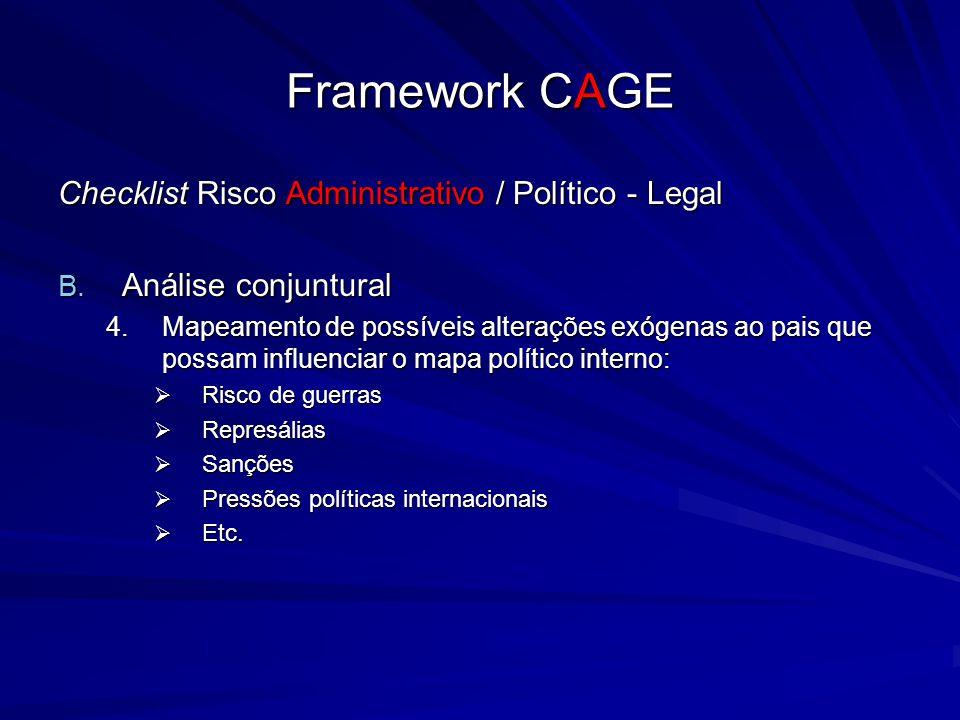 Framework CAGE Checklist Risco Administrativo / Político - Legal B. Análise conjuntural 4.Mapeamento de possíveis alterações exógenas ao pais que poss