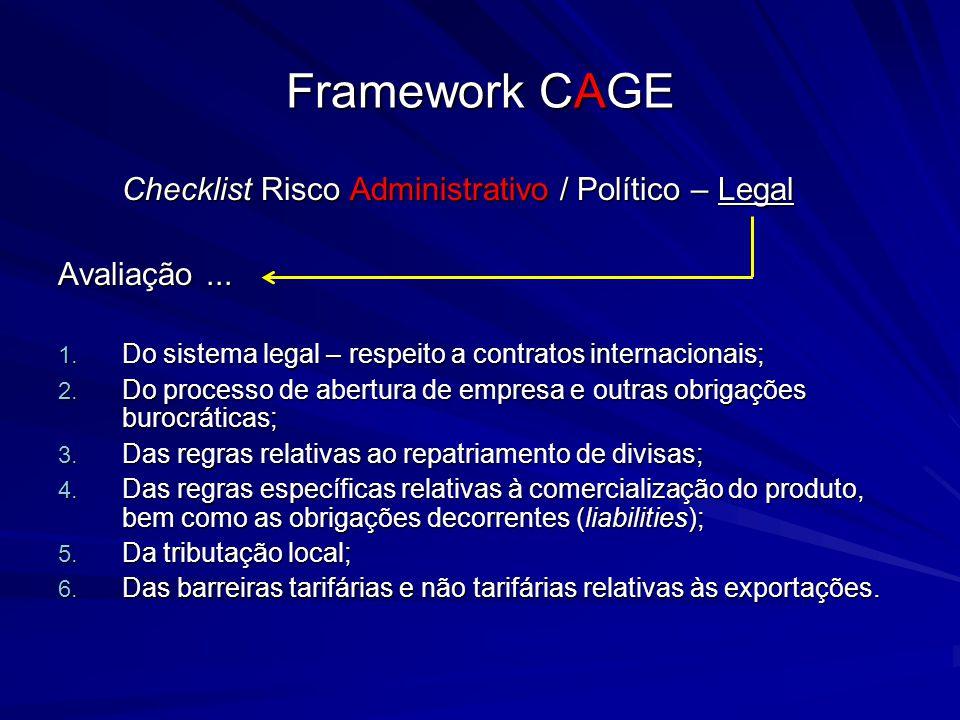 Framework CAGE Checklist Risco Administrativo / Político – Legal Avaliação... 1. Do sistema legal – respeito a contratos internacionais; 2. Do process