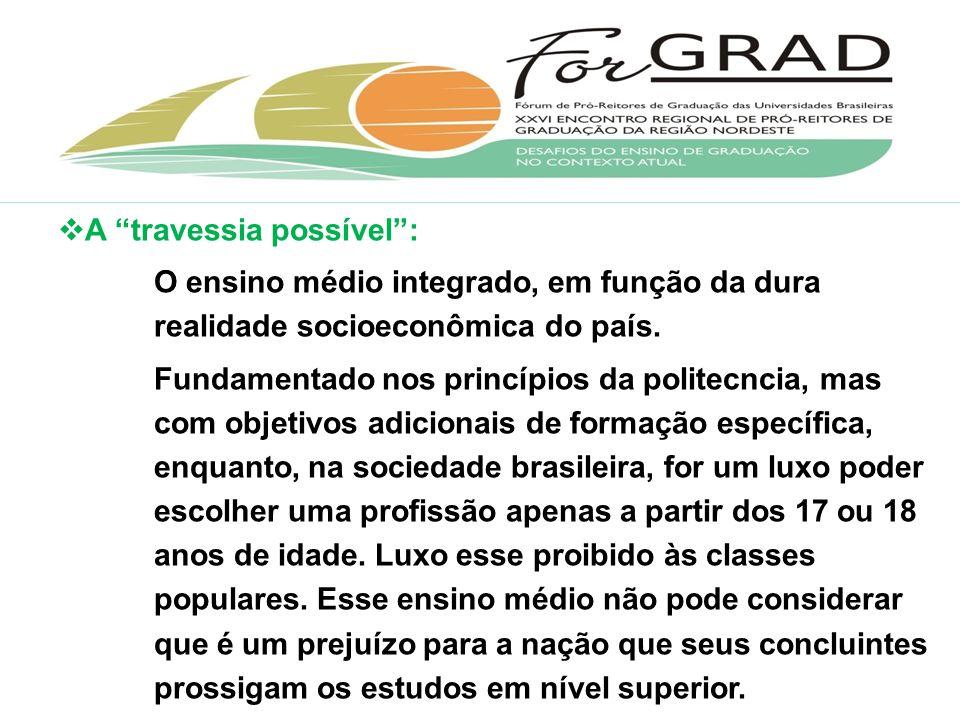 A travessia possível: O ensino médio integrado, em função da dura realidade socioeconômica do país.