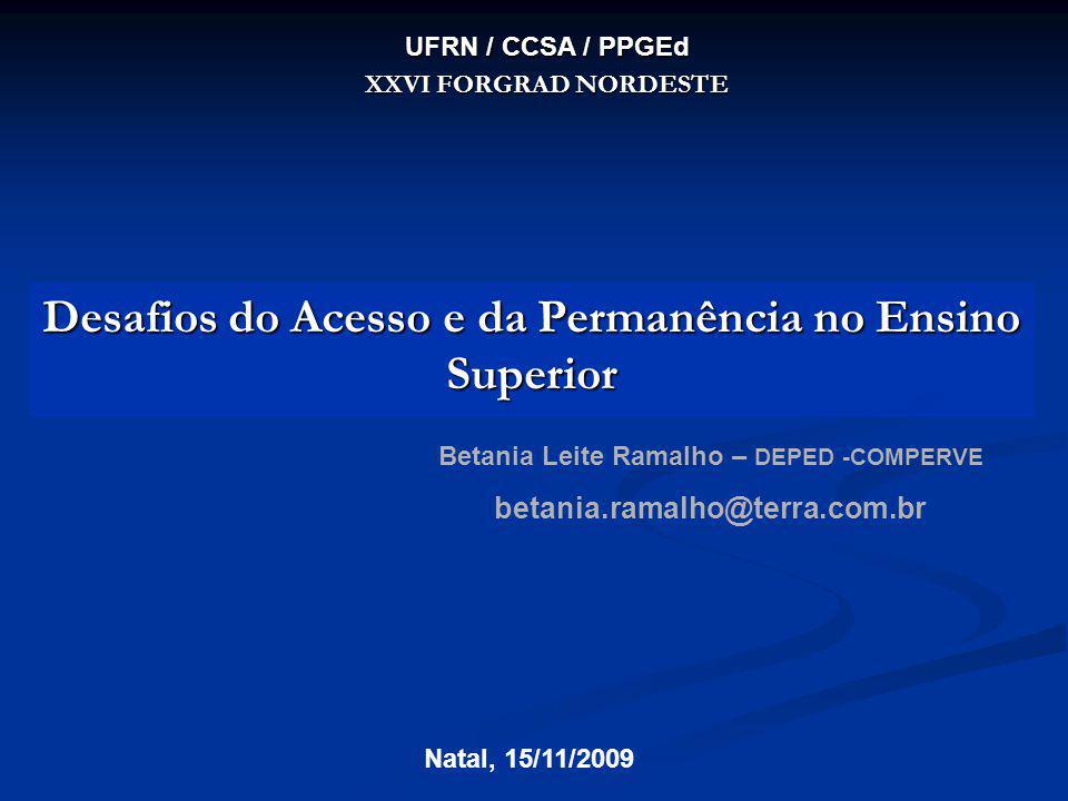 Desafios do Acesso e da Permanência no Ensino Superior Betania Leite Ramalho – DEPED -COMPERVE betania.ramalho@terra.com.br Natal, 15/11/2009 UFRN / C