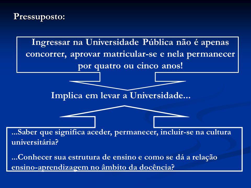 Pressuposto: Ingressar na Universidade Pública não é apenas concorrer, aprovar matricular-se e nela permanecer por quatro ou cinco anos!...Saber que s