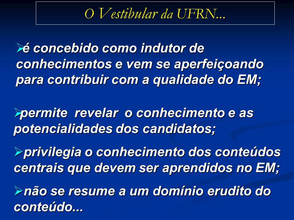 O Vestibular da UFRN... é concebido como indutor de conhecimentos e vem se aperfeiçoando para contribuir com a qualidade do EM; é concebido como indut