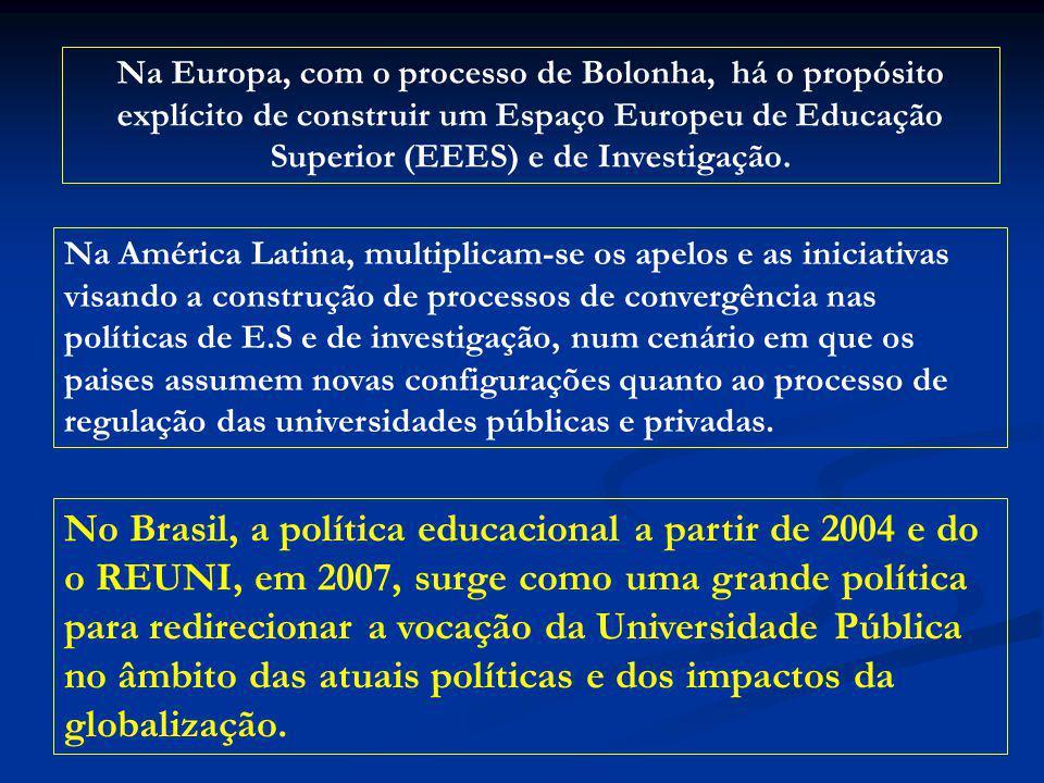 No Brasil, a política educacional a partir de 2004 e do o REUNI, em 2007, surge como uma grande política para redirecionar a vocação da Universidade P