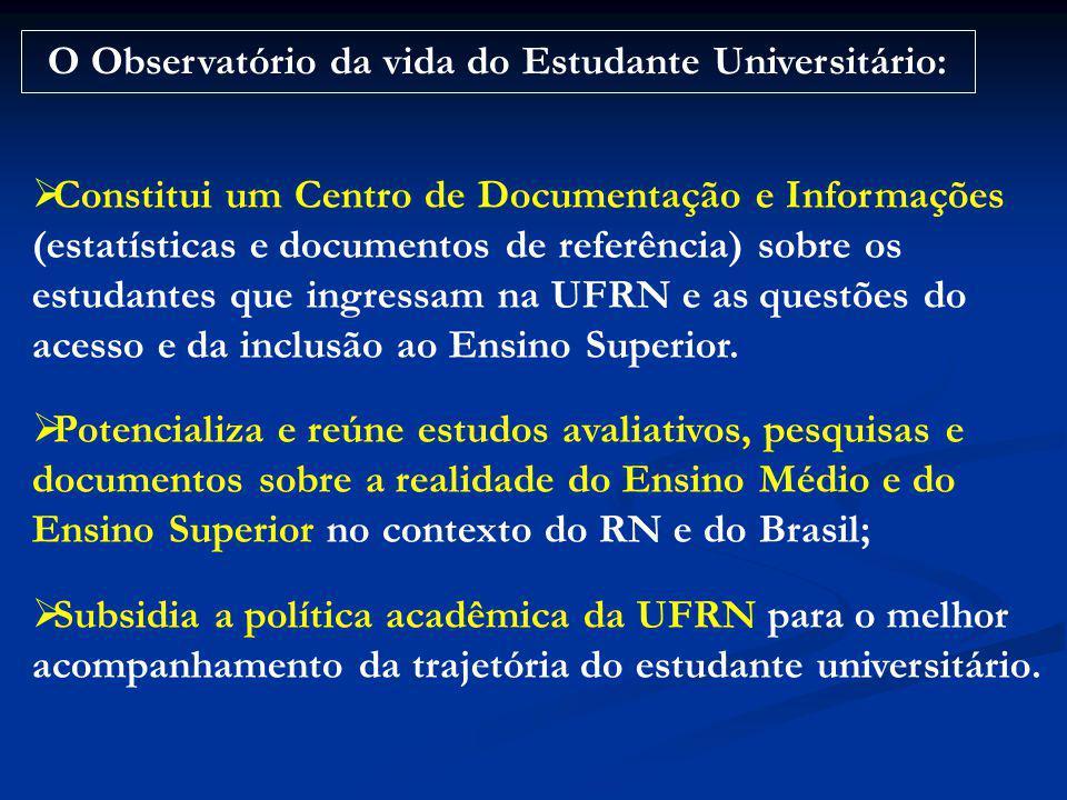 Constitui um Centro de Documentação e Informações (estatísticas e documentos de referência) sobre os estudantes que ingressam na UFRN e as questões do