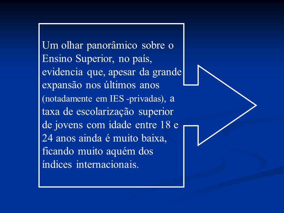 Taxa de Esc.Bruta/País (TEB): 18,6% matriculados 18 a 24Anos: Taxa de Esc.