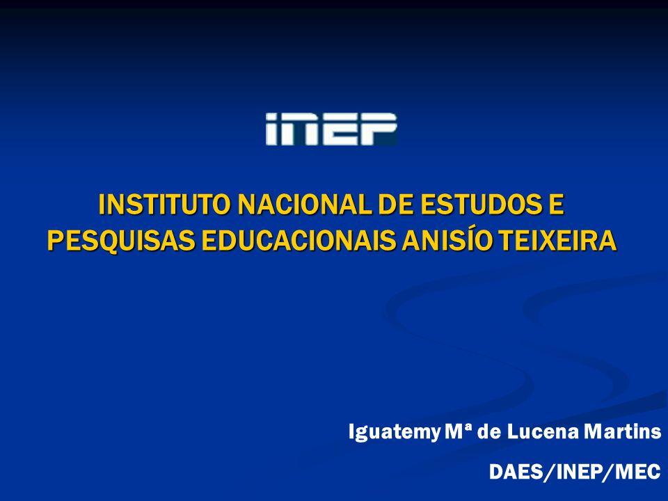 INSTITUTO NACIONAL DE ESTUDOS E PESQUISAS EDUCACIONAIS ANISÍO TEIXEIRA Iguatemy Mª de Lucena Martins DAES/INEP/MEC