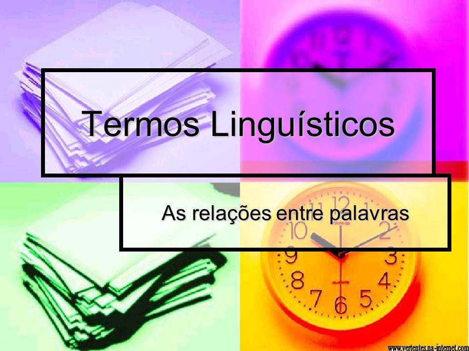 Termos Linguísticos As relações entre palavras
