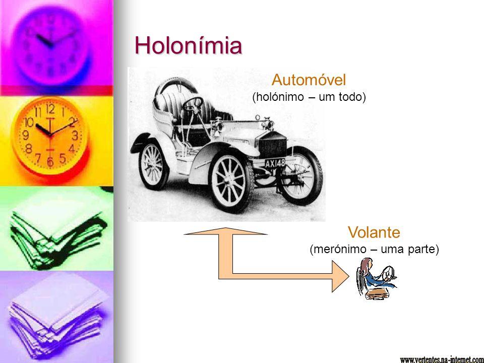 Holonímia Automóvel (holónimo – um todo) Volante (merónimo – uma parte)