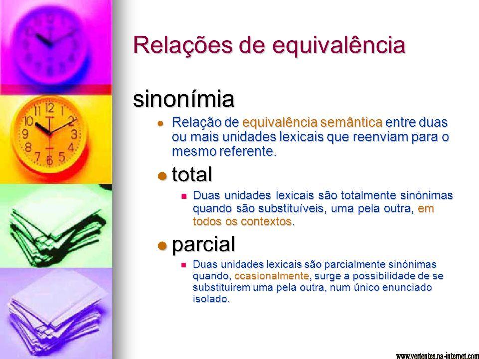 Relações de equivalência sinonímia Relação de equivalência semântica entre duas ou mais unidades lexicais que reenviam para o mesmo referente. Relação