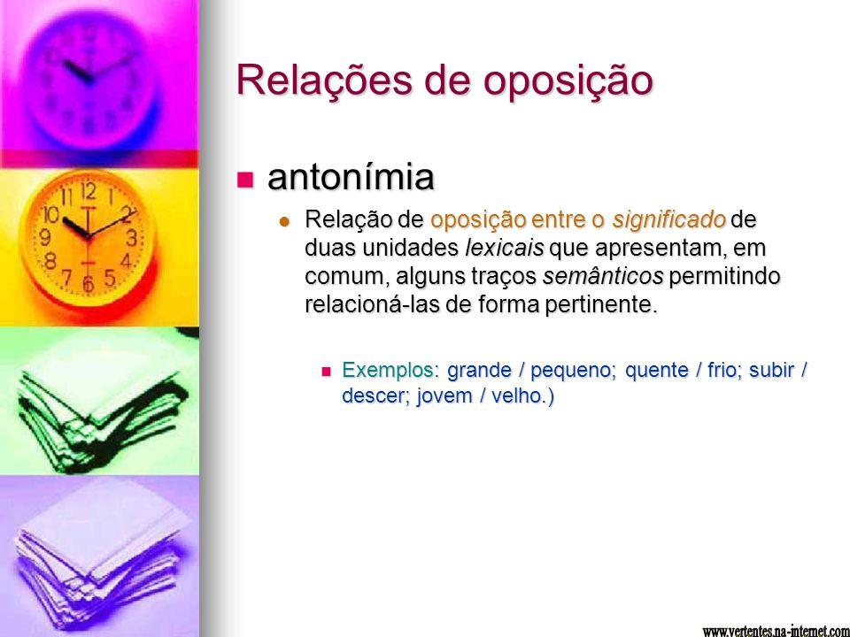 Relações de oposição antonímia antonímia Relação de oposição entre o significado de duas unidades lexicais que apresentam, em comum, alguns traços sem
