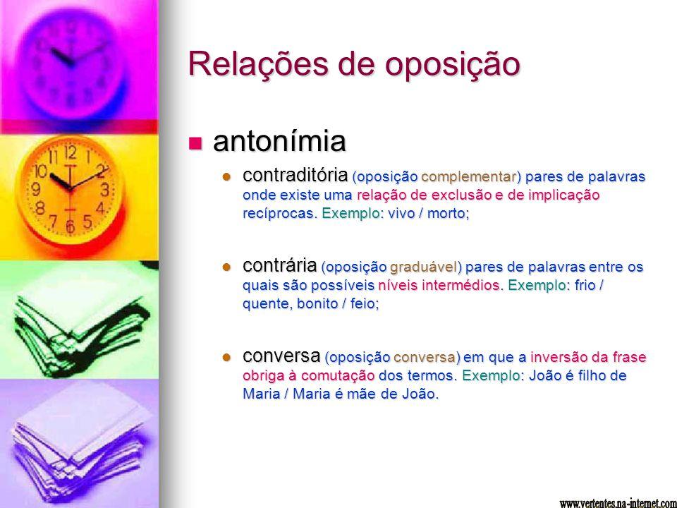 Relações de oposição antonímia antonímia contraditória (oposição complementar) pares de palavras onde existe uma relação de exclusão e de implicação r