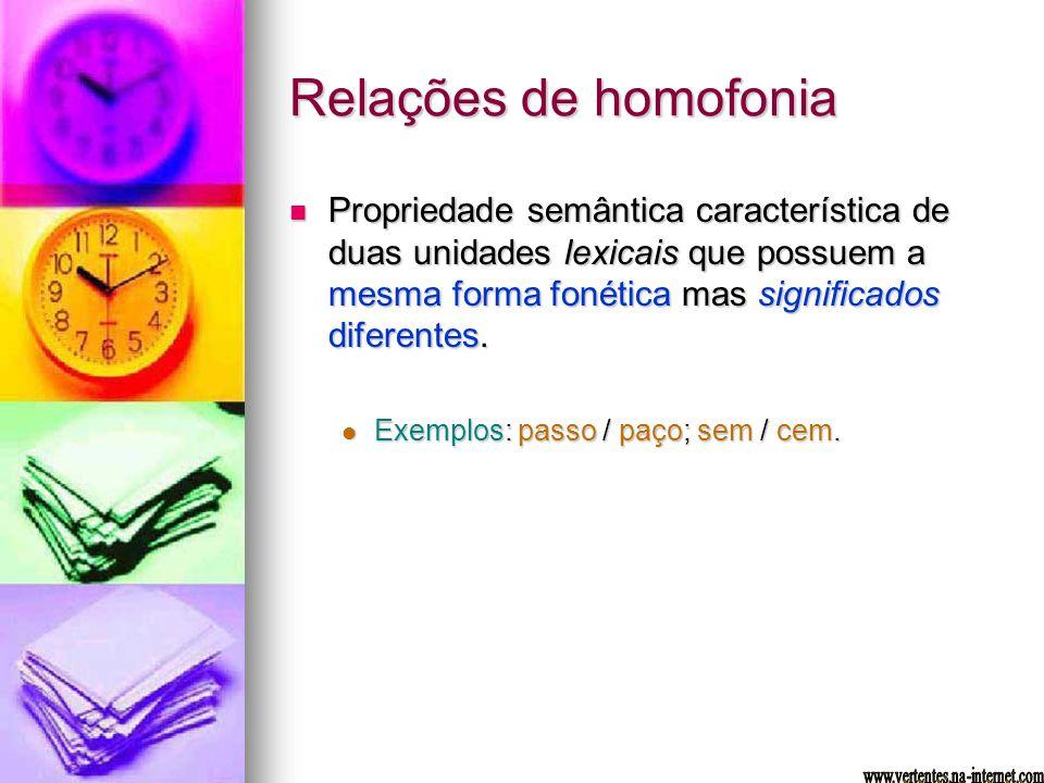 Relações de homofonia Propriedade semântica característica de duas unidades lexicais que possuem a mesma forma fonética mas significados diferentes. P