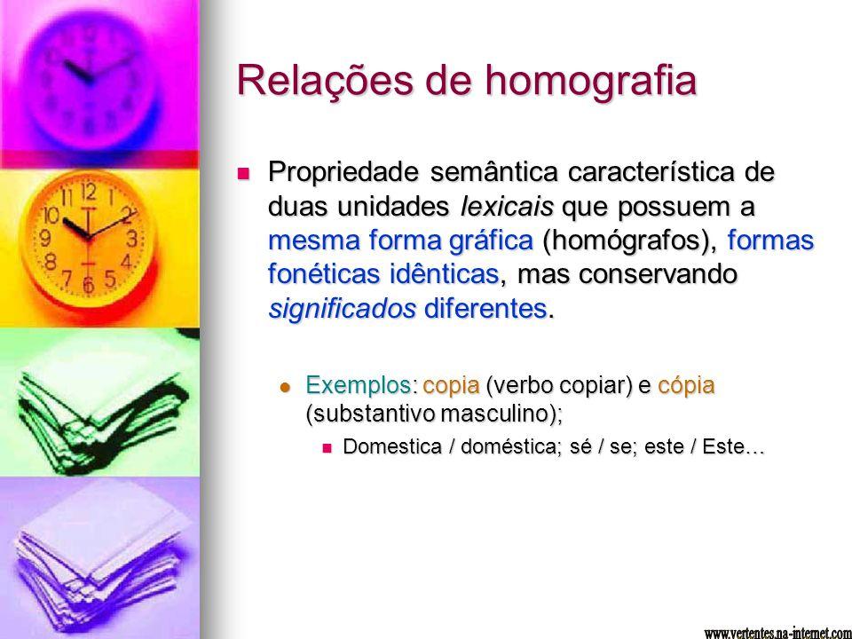 Relações de homografia Propriedade semântica característica de duas unidades lexicais que possuem a mesma forma gráfica (homógrafos), formas fonéticas