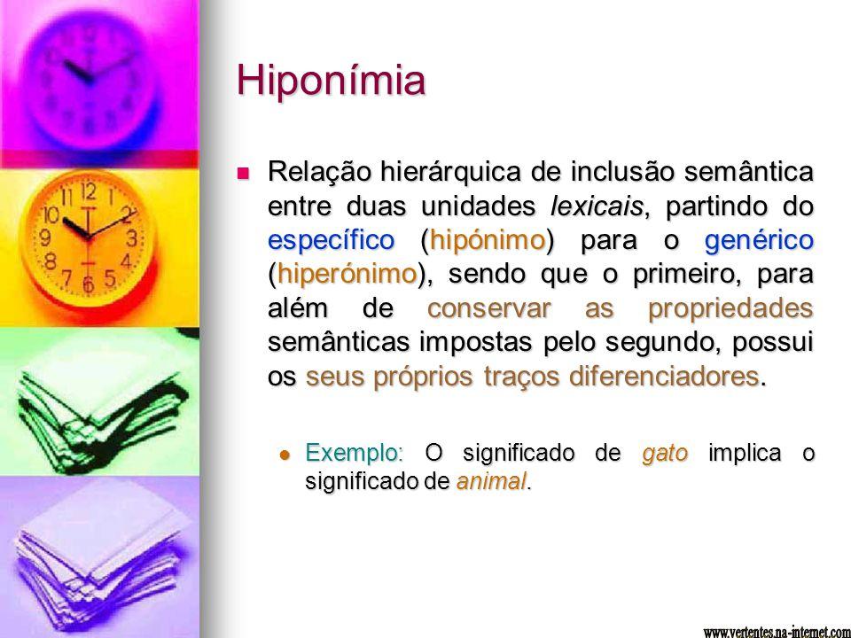 Hiponímia Relação hierárquica de inclusão semântica entre duas unidades lexicais, partindo do específico (hipónimo) para o genérico (hiperónimo), send