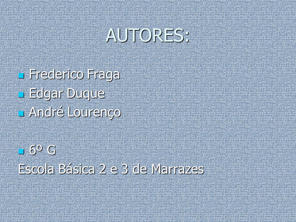AUTORES: Frederico Fraga Frederico Fraga Edgar Duque Edgar Duque André Lourenço André Lourenço 6º G 6º G Escola Básica 2 e 3 de Marrazes