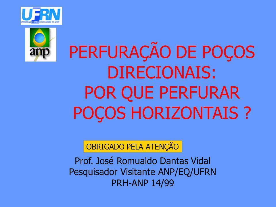 OBRIGADO PELA ATENÇÃO Prof. José Romualdo Dantas Vidal Pesquisador Visitante ANP/EQ/UFRN PRH-ANP 14/99 PERFURAÇÃO DE POÇOS DIRECIONAIS: POR QUE PERFUR
