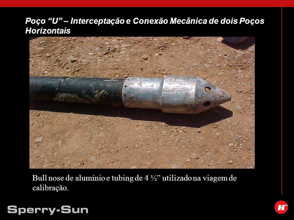 Poço U – Interceptação e Conexão Mecânica de dois Poços Horizontais Bull nose de alumínio e tubing de 4 ½ utilizado na viagem de calibração.