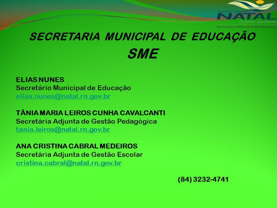 SECRETARIA MUNICIPAL DE EDUCAÇÃO SME ELIAS NUNES Secretário Municipal de Educação elias.nunes@natal.rn.gov.br TÂNIA MARIA LEIROS CUNHA CAVALCANTI Secretária Adjunta de Gestão Pedagógica tania.leiros@natal.rn.gov.br ANA CRISTINA CABRAL MEDEIROS Secretária Adjunta de Gestão Escolar cristina.cabral@natal.rn.gov.br (84) 3232-4741