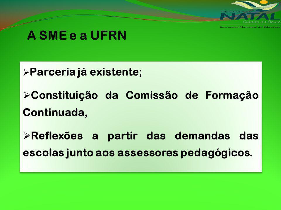 A SME e a UFRN Parceria já existente; Constituição da Comissão de Formação Continuada, Reflexões a partir das demandas das escolas junto aos assessores pedagógicos.