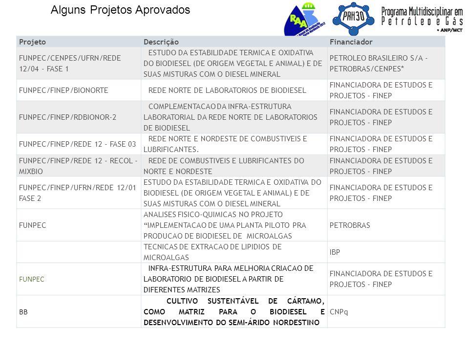 Alguns Projetos Aprovados ProjetoDescriçãoFinanciador FUNPEC/CENPES/UFRN/REDE 12/04 - FASE 1 ESTUDO DA ESTABILIDADE TERMICA E OXIDATIVA DO BIODIESEL (DE ORIGEM VEGETAL E ANIMAL) E DE SUAS MISTURAS COM O DIESEL MINERAL PETROLEO BRASILEIRO S/A - PETROBRAS/CENPES* FUNPEC/FINEP/BIONORTEREDE NORTE DE LABORATORIOS DE BIODIESEL FINANCIADORA DE ESTUDOS E PROJETOS - FINEP FUNPEC/FINEP/RDBIONOR-2 COMPLEMENTACAO DA INFRA-ESTRUTURA LABORATORIAL DA REDE NORTE DE LABORATORIOS DE BIODIESEL FINANCIADORA DE ESTUDOS E PROJETOS - FINEP FUNPEC/FINEP/REDE 12 - FASE 03 REDE NORTE E NORDESTE DE COMBUSTIVEIS E LUBRIFICANTES.