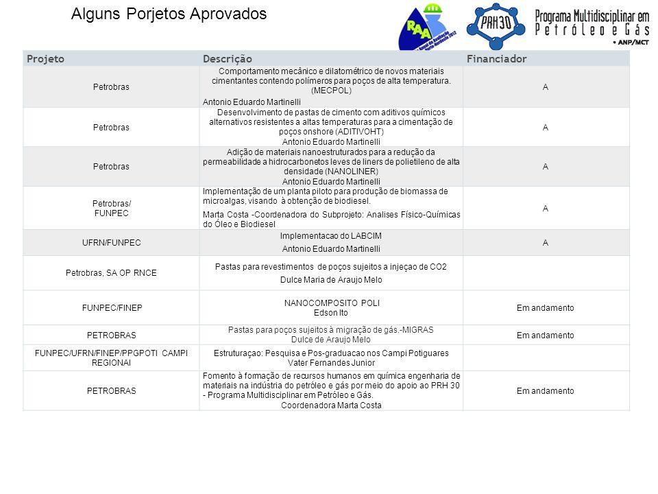 Alguns Porjetos Aprovados ProjetoDescriçãoFinanciador Petrobras Comportamento mecânico e dilatométrico de novos materiais cimentantes contendo polímeros para poços de alta temperatura.