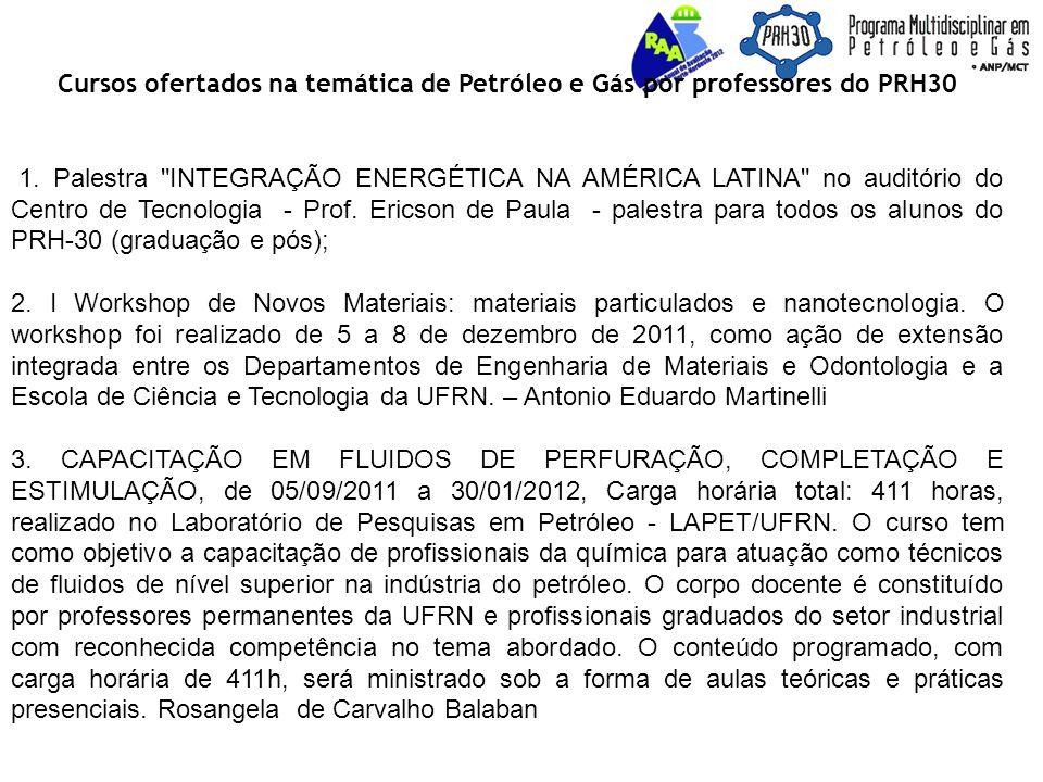 Cursos ofertados na temática de Petróleo e Gás por professores do PRH30 1.