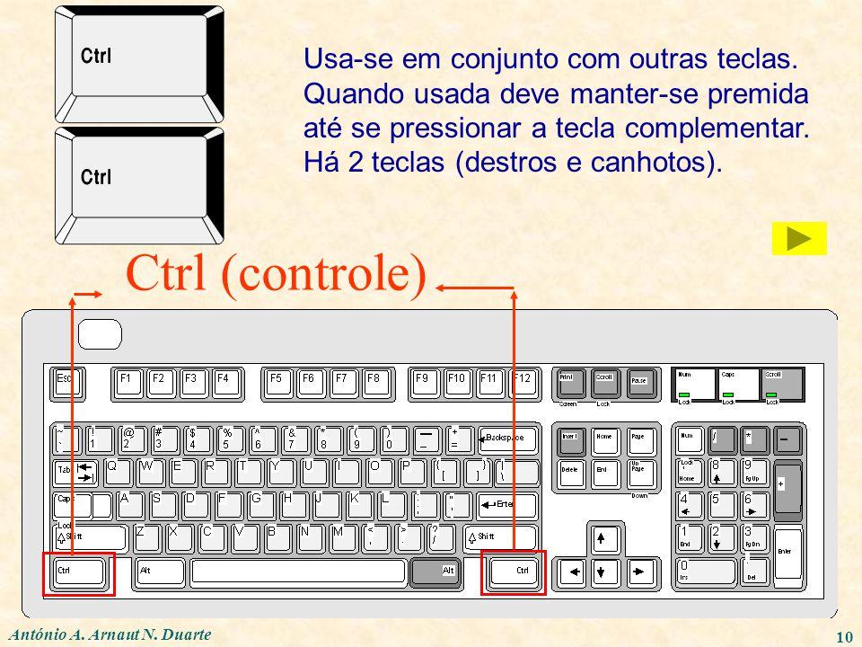 António A. Arnaut N. Duarte 10 Ctrl (controle) Usa-se em conjunto com outras teclas. Quando usada deve manter-se premida até se pressionar a tecla com