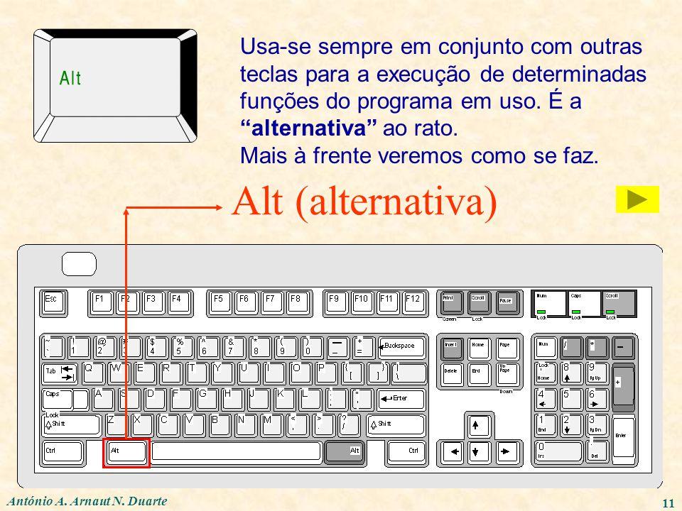 António A. Arnaut N. Duarte 11 Alt (alternativa) Usa-se sempre em conjunto com outras teclas para a execução de determinadas funções do programa em us