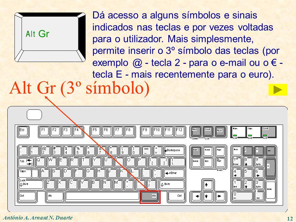 António A. Arnaut N. Duarte 12 Alt Gr (3º símbolo) Dá acesso a alguns símbolos e sinais indicados nas teclas e por vezes voltadas para o utilizador. M