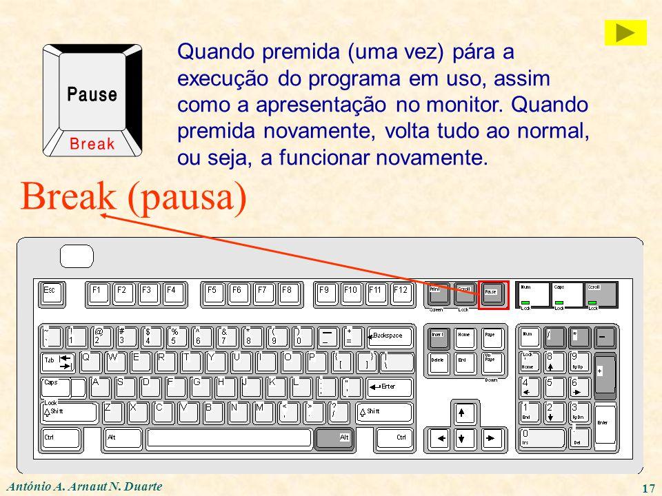 António A. Arnaut N. Duarte 17 Break (pausa) Quando premida (uma vez) pára a execução do programa em uso, assim como a apresentação no monitor. Quando