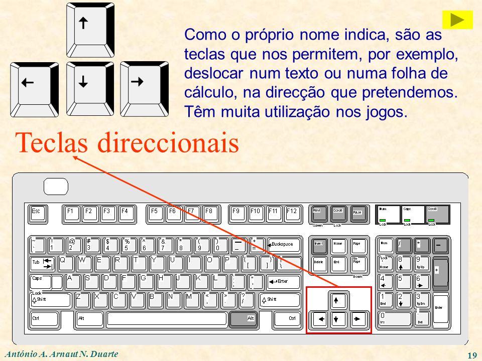 António A. Arnaut N. Duarte 19 Teclas direccionais Como o próprio nome indica, são as teclas que nos permitem, por exemplo, deslocar num texto ou numa