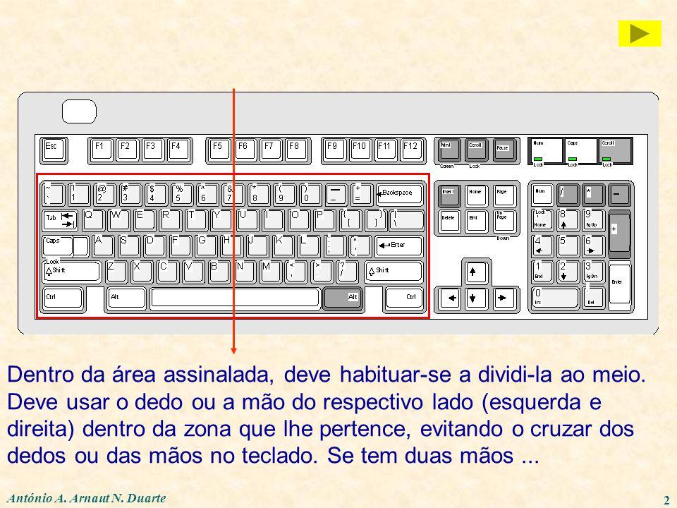 2 Dentro da área assinalada, deve habituar-se a dividi-la ao meio. Deve usar o dedo ou a mão do respectivo lado (esquerda e direita) dentro da zona qu