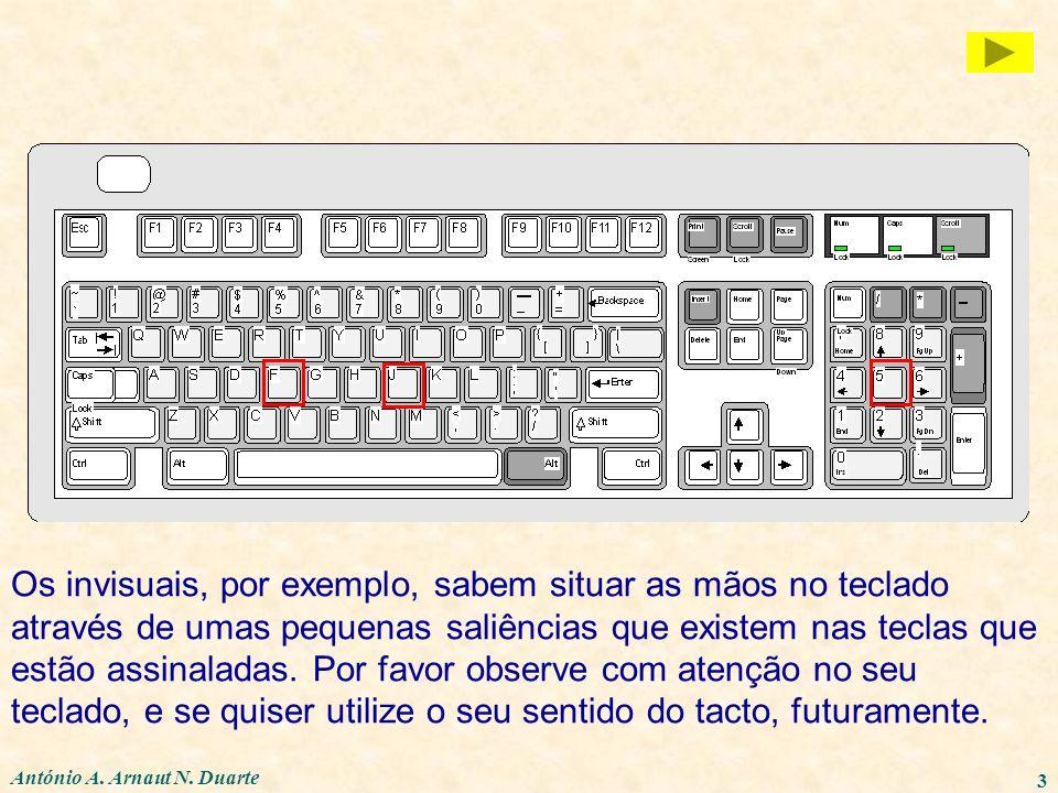 António A. Arnaut N. Duarte 3 Os invisuais, por exemplo, sabem situar as mãos no teclado através de umas pequenas saliências que existem nas teclas qu