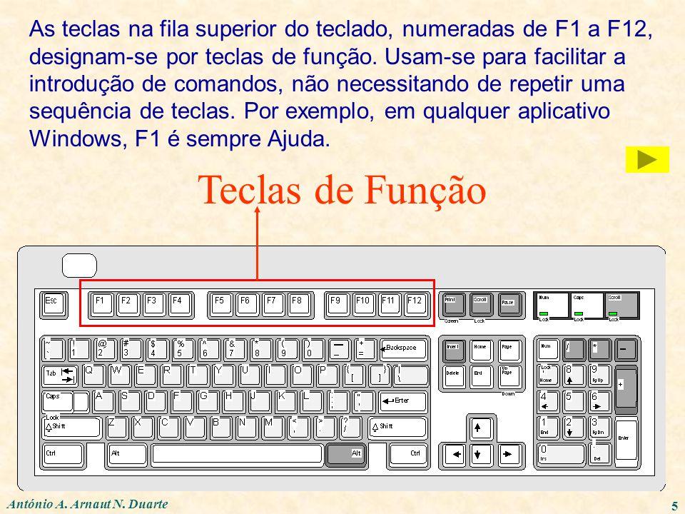 5 Teclas de Função As teclas na fila superior do teclado, numeradas de F1 a F12, designam-se por teclas de função. Usam-se para facilitar a introdução