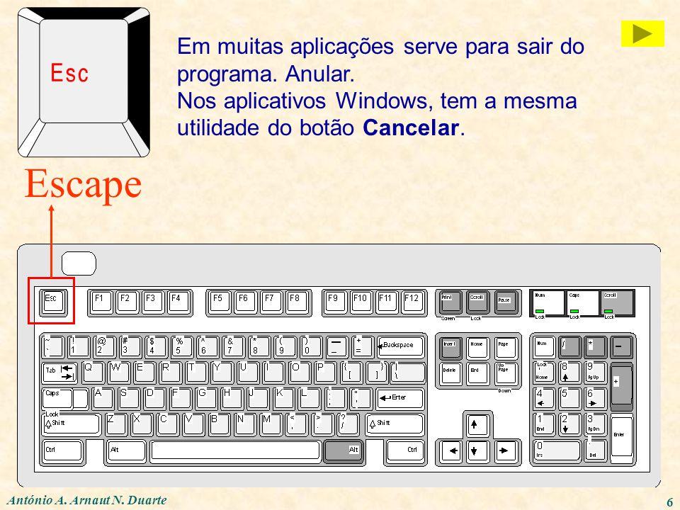 António A. Arnaut N. Duarte 6 Escape Em muitas aplicações serve para sair do programa. Anular. Nos aplicativos Windows, tem a mesma utilidade do botão