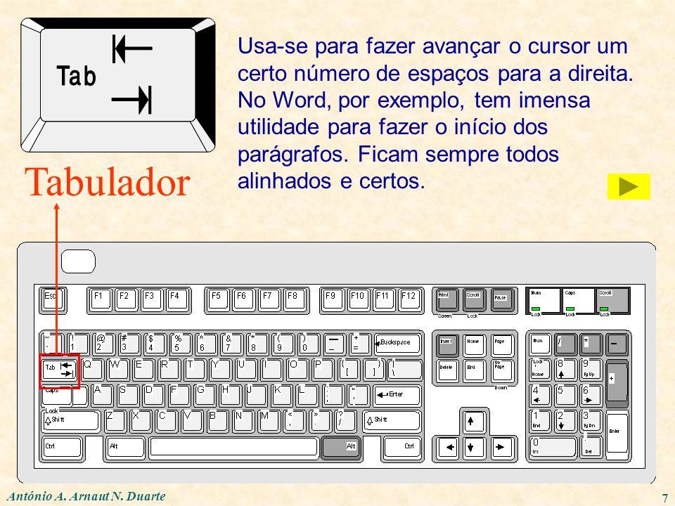 António A. Arnaut N. Duarte 7 Tabulador Usa-se para fazer avançar o cursor um certo número de espaços para a direita. No Word, por exemplo, tem imensa