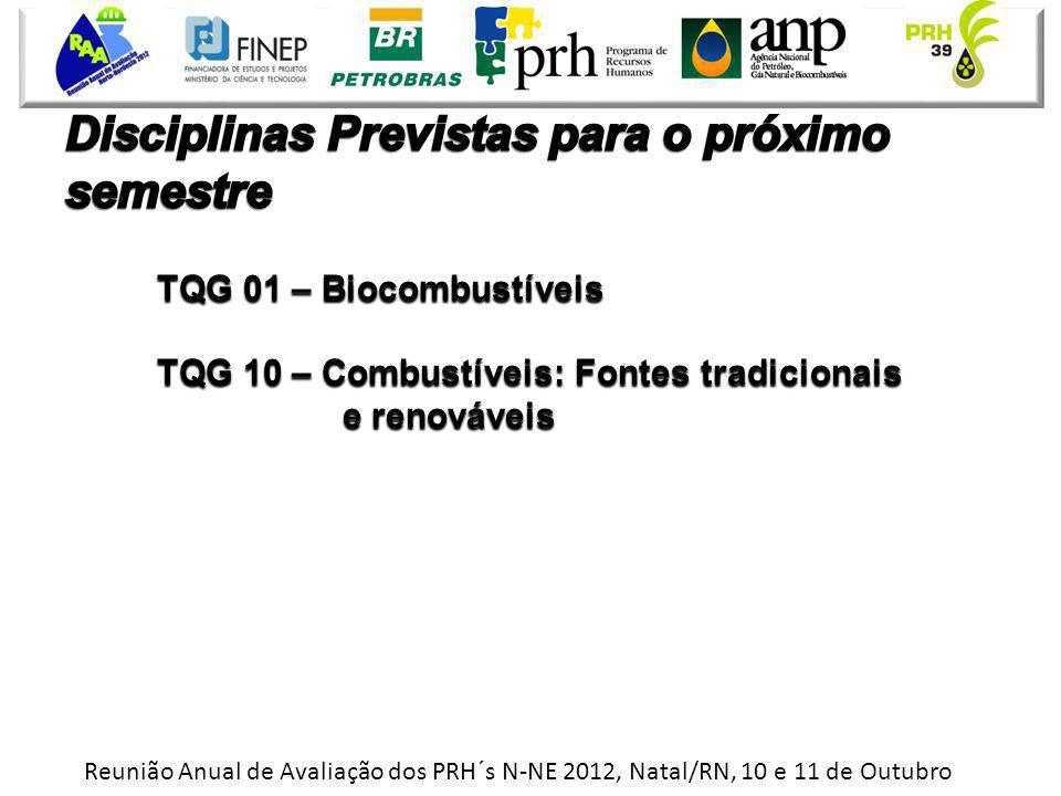 Reunião Anual de Avaliação dos PRH´s N-NE 2012, Natal/RN, 10 e 11 de Outubro TQG 01 – Biocombustíveis TQG 10 – Combustíveis: Fontes tradicionais e ren