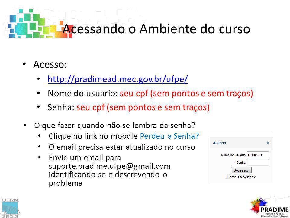Acessando o Ambiente do curso Acesso: http://pradimead.mec.gov.br/ufpe/ Nome do usuario: seu cpf (sem pontos e sem traços) Senha: seu cpf (sem pontos