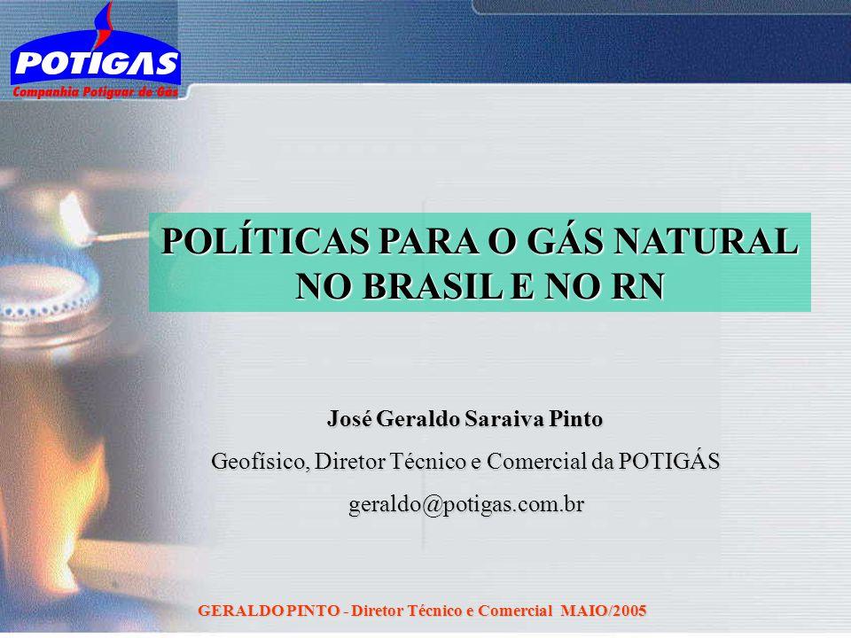 GERALDO PINTO - Diretor Técnico e Comercial MAIO/2005 POLÍTICAS PARA O GÁS NATURAL NO BRASIL E NO RN José Geraldo Saraiva Pinto Geofísico, Diretor Téc
